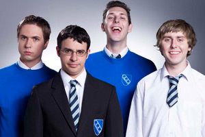 The Inbetweeners. Image shows from L to R: Simon Cooper (Joe Thomas), Will Mackenzie (Simon Bird), Neil Sutherland (Blake Harrison), Jay Cartwright (James Buckley). Copyright: Bwark Productions.