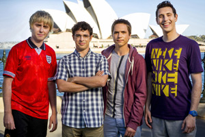 The Inbetweeners 2. Image shows from L to R: Jay Cartwright (James Buckley), Will MacKenzie (Simon Bird), Simon Cooper (Joe Thomas), Neil Sutherland (Blake Harrison). Copyright: Bwark Productions.