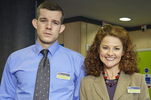 The Job Lot. Image shows from L to R: Karl (Russell Tovey), Trish (Sarah Hadland). Copyright: Big Talk Productions.