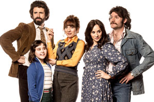 The Kennedys. Image shows from L to R: Tony Kennedy (Dan Skinner), Emma Kennedy (Lucy Hutchinson), Brenda Kennedy (Katherine Parkinson), Jenny (Emma Pierson), Tim (Harry Peacock). Copyright: BBC.