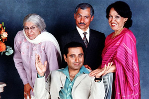 The Kumars At No. 42. Image shows from L to R: Ummi (Meera Syal), Sanjeev Kumar (Sanjeev Bhaskar), Dad (Vincent Ebrahim), Mum (Indira Joshi). Copyright: Hat Trick Productions.