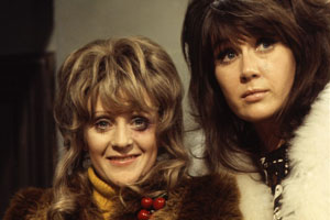 The Liver Birds. Image shows from L to R: Beryl Hennessey (Polly James), Sandra Hutchinson (Nerys Hughes). Copyright: BBC.