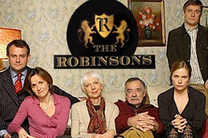 The Robinsons. Image shows from L to R: George Robinson (Hugh Bonneville), Maggie Robinson (Amanda Root), Pam Robinson (Anna Massey), Hector Robinson (Richard Johnson), Vicky Robinson (Abigail Cruttenden), Ed Robinson (Martin Freeman).