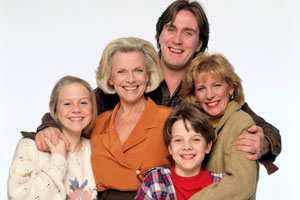The Upper Hand. Image shows from L to R: Joanna Burrows (Kellie Bright), Laura West (Honor Blackman), Charlie Burrows (Joe McGann), Tom Wheatley (William Puttock), Caroline Wheatley (Diana Weston).