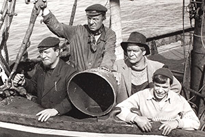 The Vital Spark. Image shows from L to R: Para Handy (Roddy McMillan), Dan McPhail (John Grieve), Dougie (Walter Carr), Sunny Jim (Alex McAvoy). Copyright: BBC.