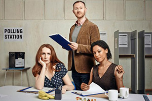 The Vote. Image shows from L to R: Kirsty Henderson (Catherine Tate), Steven Crosswell (Mark Gatiss), Laura Williams (Nina Sosanya).