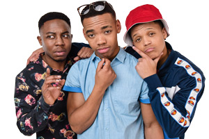 The Weekend. Image shows from L to R: Tyler (Dee Kaate), Derrick  (Joivan Wade), Malcolm (Percelle Ascott).