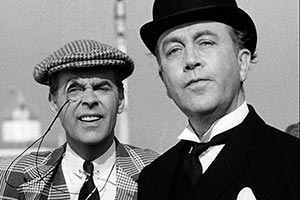 P. G. Wodehouse's The World Of Wooster. Image shows from L to R: Bertie Wooster (Ian Carmichael), Jeeves (Dennis Price). Copyright: BBC.