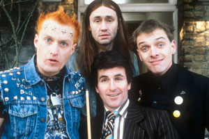 The Young Ones. Image shows from L to R: Vyvyan (Adrian Edmondson), Neil (Nigel Planer), Mike (Christopher Ryan), Rick (Rik Mayall). Copyright: BBC.