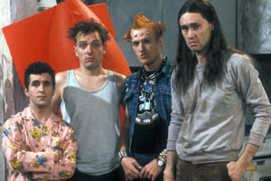The Young Ones. Image shows from L to R: Mike (Christopher Ryan), Rick (Rik Mayall), Vyvyan (Adrian Edmondson), Neil (Nigel Planer). Copyright: BBC.