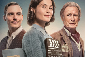 Their Finest. Image shows from L to R: Buckley (Sam Claflin), Catrin (Gemma Arterton), Ambrose Hilliard (Bill Nighy).