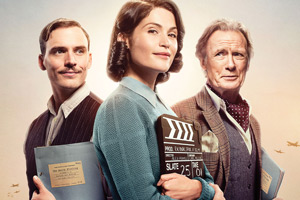 Their Finest. Image shows from L to R: Tom Buckley (Sam Claflin), Catrin Cole (Gemma Arterton), Ambrose Hilliard/Uncle Frank (Bill Nighy). Copyright: Lions Gate.