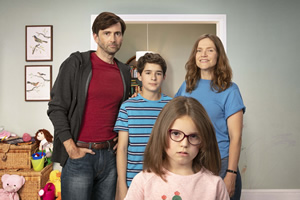 There She Goes. Image shows from L to R: Simon (David Tennant), Ben (Edan Hayhurst), Rosie (Miley Locke), Emily (Jessica Hynes). Copyright: Merman.