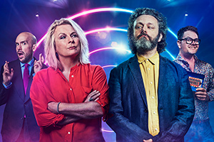 There's Something About Movies. Image shows from L to R: Tom Allen, Jennifer Saunders, Michael Sheen, Alan Carr.