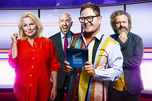 There's Something About Movies. Image shows from L to R: Jennifer Saunders, Tom Allen, Alan Carr, Michael Sheen.