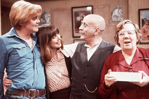 Till Death Us Do Part. Image shows from L to R: Mike Rawlins (Anthony Booth), Rita Rawlins (Una Stubbs), Alf Garnett (Warren Mitchell), Else Garnett (Dandy Nichols). Copyright: BBC.