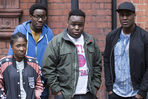 Timewasters. Image shows from L to R: Lauren (Adelayo Adedayo), Nick (Daniel Lawrence Taylor), Horace (Samson Kayo), Jason (Kadiff Kirwan). Copyright: Big Talk Productions.