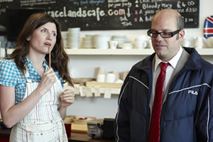 The Increasingly Poor Decisions Of Todd Margaret. Image shows from L to R: Alice Bell (Sharon Horgan), Todd Margaret (David Cross). Copyright: RDF Television / Merman.
