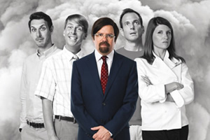 The Increasingly Poor Decisions Of Todd Margaret. Image shows from L to R: Dave (Blake Harrison), Doug Whitney (Jack McBrayer), Todd Margaret (David Cross), Brent Wilts (Will Arnett), Alice Bell (Sharon Horgan). Copyright: RDF Television / Merman.