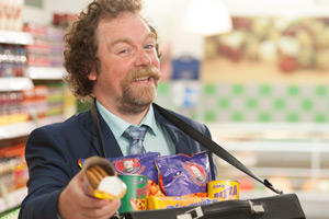 Trollied. Duncan Trench (Rufus Hound). Copyright: Roughcut Television.