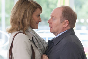 Trollied. Image shows from L to R: Cheryl (Sarah Parish), Gavin (Jason Watkins). Copyright: Roughcut Television.