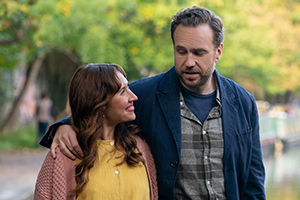 Trying. Image shows from L to R: Nikki Newman (Esther Smith), Jason Ross (Rafe Spall).