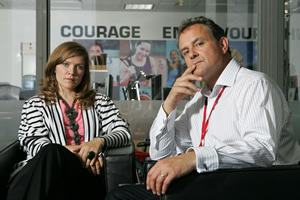 Twenty Twelve. Image shows from L to R: Siobhan Sharpe (Jessica Hynes), Ian Fletcher (Hugh Bonneville). Copyright: BBC.