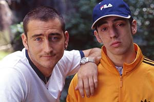 Two Pints Of Lager And A Packet Of Crisps. Image shows from L to R: Gaz (Will Mellor), Jonny (Ralf Little). Copyright: BBC.