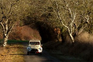 A car on a country line. Copyright: BBC.