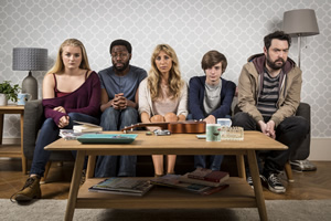 Uncle. Image shows from L to R: Tiffany (Jorja Rutherford), Bruce (Daniel Lawrence Taylor), Sam (Daisy Haggard), Errol (Elliot Speller-Gillott), Andy (Nick Helm). Copyright: Baby Cow Productions.