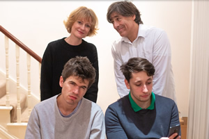 Unite. Image shows from L to R: Imogen (Claire Skinner), Gideon (Ivo Graham), Tony (Mark Steel), Ashley (Elliot Steel).