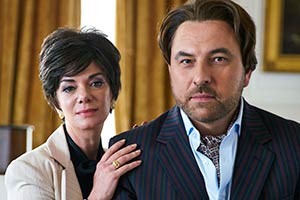 Urban Myths: The Trial Of Joan Collins. Image shows from L to R: Joan Collins (Victoria Hamilton), Monty (David Walliams). Copyright: King Bert Productions.