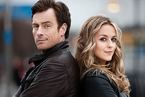 Vexed. Image shows from L to R: D.I. Jack Armstrong (Toby Stephens), D.I. Georgina Dixon (Miranda Raison). Copyright: Greenlit Rights.