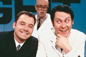 Vic Reeves Big Night Out. Image shows from L to R: Bob Mortimer, Les (Fred Aylward), Vic Reeves. Copyright: Channel X.