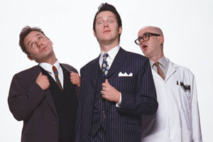Vic Reeves Big Night Out. Image shows from L to R: Bob Mortimer, Vic Reeves, Les (Fred Aylward). Copyright: Channel X.