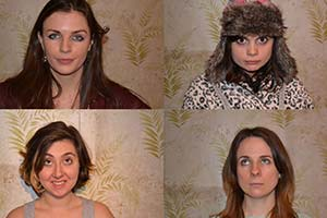 Vodka Diaries. Image shows from L to R: Nic (Aisling Bea), Alex (Rosamund Hanson), Periel (Gwyneth Keyworth), Holly (Cariad Lloyd). Copyright: Feelgood Fiction.