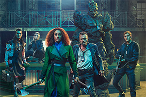 The Watch. Image shows from L to R: Constable Cheery (Jo Eaton-Kent), Corporal Angua (Marama Corlett), Lady Sybil Ramkin (Lara Rossi), Sam Vimes (Richard Dormer), Sergeant Detritus, Constable Carrot (Adam Hugill).