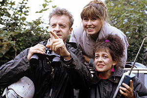 Watching. Image shows from L to R: Malcolm Stoneway (Paul Bown), Pamela Lynch nee Stoneway (Liza Tarbuck), Brenda Wilson (Emma Wray). Copyright: Granada Television.