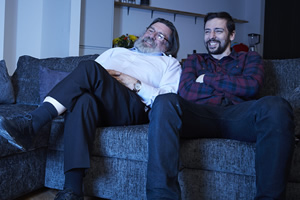 We Have Been Watching. Image shows from L to R: Ricky Tomlinson, Ralf Little. Copyright: Crook Productions.