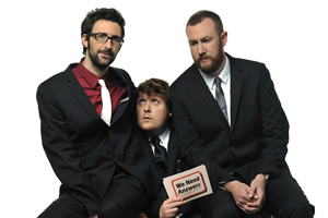 We Need Answers. Image shows from L to R: Mark Watson, Tim Key, Alex Horne. Copyright: BBC.