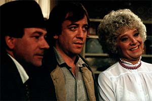 West End Tales. Image shows from L to R: Checkie (Larry Martyn), Fiddler (Robin Nedwell), Ma (Toni Palmer). Copyright: Associated Television.