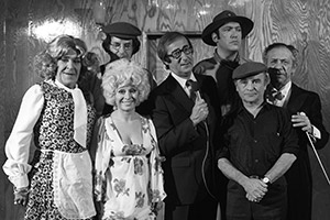 What A Carry On!. Image shows from L to R: Peter Butterworth, Jack Douglas, Barbara Windsor, Shaw Taylor, Bernard Bresslaw, Kenneth Connor, Sid James. Copyright: Associated Television / ITV.