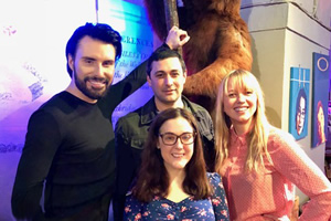 What If...?. Image shows from L to R: Rylan Clark-Neal, Adam Rutherford, Gráinne Maguire, Sara Cox.