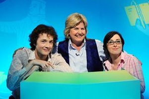 What The Dickens?. Image shows from L to R: Chris Addison, Sandi Toksvig, Sue Perkins. Copyright: Liberty Bell.