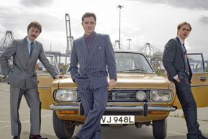 White Gold. Image shows from L to R: Brian Fitzpatrick (James Buckley), Vincent Swan (Ed Westwick), Martin Lavender (Joe Thomas). Copyright: Fudge Park.