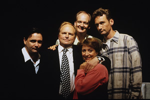 Whose Line Is It Anyway?. Image shows from L to R: Tony Slattery, Clive Anderson, Colin Mochrie, Caroline Quentin, Ryan Stiles. Copyright: Hat Trick Productions.