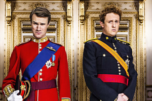 The Windsors. Image shows from L to R: Wills (Hugh Skinner), Harry (Richard Goulding). Copyright: Noho Film and TV.