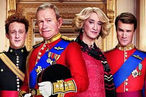 The Windsors. Image shows from L to R: Harry (Richard Goulding), Charles (Harry Enfield), Camilla (Haydn Gwynne), Wills (Hugh Skinner). Copyright: Noho Film and TV.