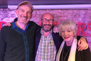 Woof - One Man's Search For A Dog Or A Boyfriend. Image shows from L to R: Martin Hyder, Chris Neill, Alison Steadman. Copyright: Giddy Goat Productions.