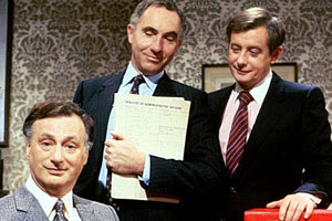 Yes Minister. Image shows from L to R: James Hacker (Paul Eddington), Sir Humphrey Appleby (Nigel Hawthorne), Bernard Woolley (Derek Fowlds). Copyright: BBC.